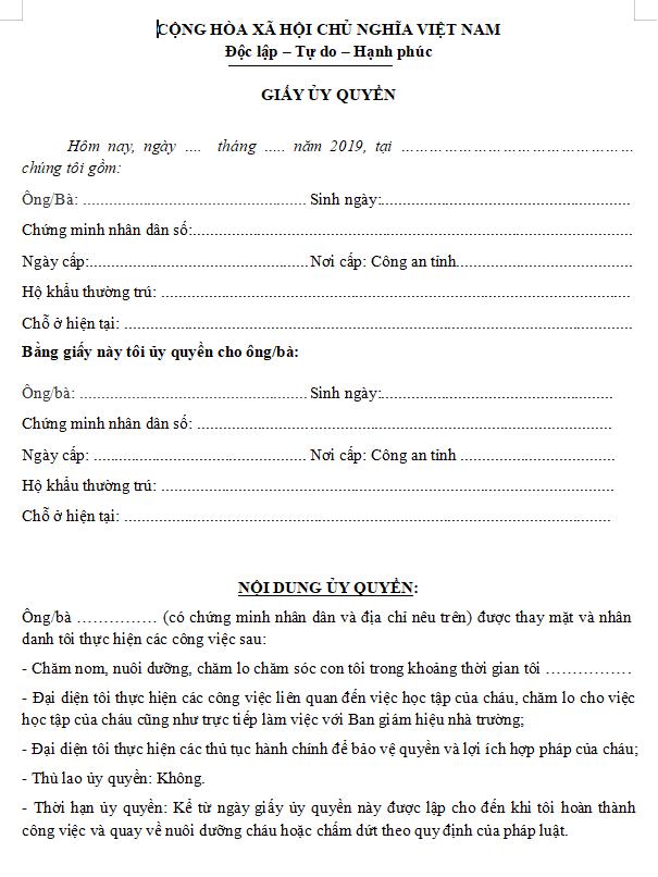 Tải mẫu giấy ủy quyền nuôi con tại đây